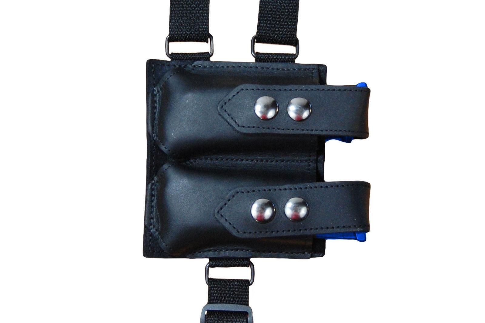 NEW Barsony Black Leather Shoulder Holster Dbl Mag Pouch Taurus Millennium LASER