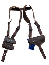 NEW Barsony Brown Leather Shoulder Holster Dbl Mag Pouch Ruger SR9C, SR40C LASER - $106.99
