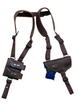 NEW Barsony Brown Leather Shoulder Holster Dbl Mag Pouch Taurus Millennium LASER - $106.99