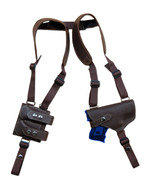 NEW Barsony Brown Leather Shoulder Holster Dbl Mag Pouch Springfield XD-... - $104.99