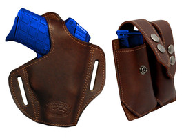 NEW Barsony Brown Leather Pancake Holster+Dbl Mag Pouch Beretta Kahr Comp 9mm 40 - $74.99
