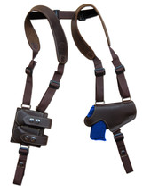 NEW Brown Leather Thumb Break Shoulder Holster w/Mag Pouch Colt 380 & 9mm 40 45 - $109.99