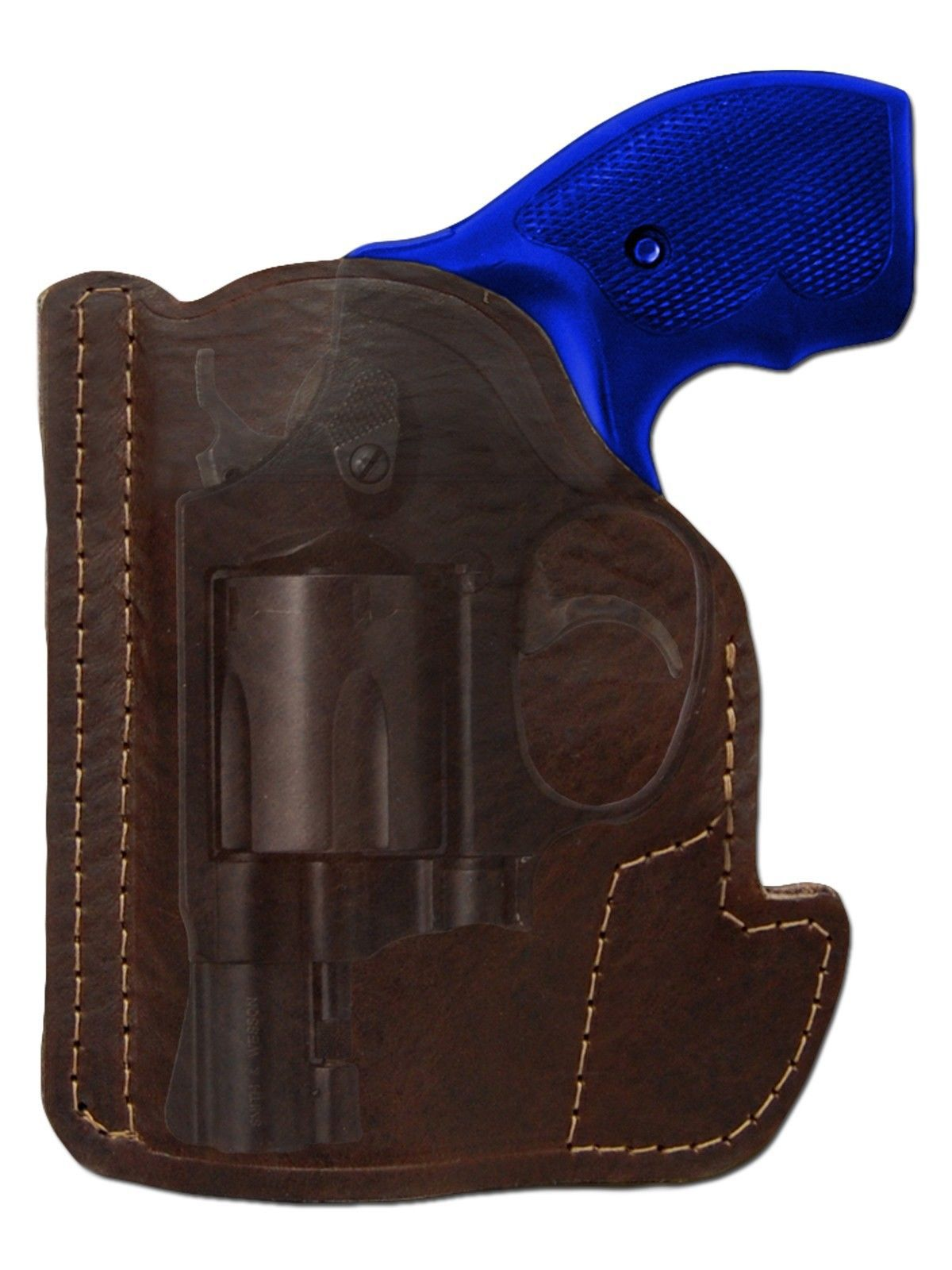 "New Barsony Brown Leather Gun Pocket Holster S&W 2"" Snub Nose 38 357 Revolvers"