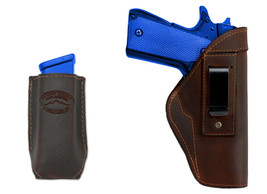 New Barsony Brown Leather IWB Holster + Mag Pouch Smith&Wesson Full Size... - $46.99