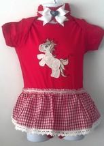 Embroidered Infant Western Horse Pony Bodysuit Size 12-18 month + Headband - $21.95