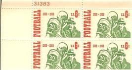 1969 6c intercollegiate football stamps 4 panel plate block - $4.99