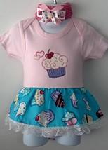 Infant Embroidered Cupcake Bodysuit Skirt 12-18 months plus headband - $21.95