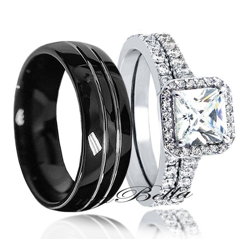 Sterling silver amp his black tungsten engagement wedding ring band set