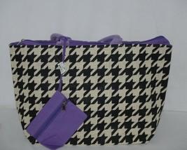 GANZ Brand ER39334 Style 101 Large Burlap Black Cream Purse Purple Handle image 1