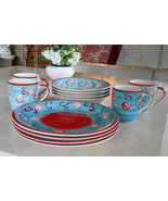 Mulberry Home Collection china set, service for 4, Rose Swirl Design, Vi... - $55.43