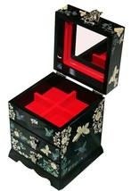 mother of pearl jewelry box jewel organizer 3 drawers with mirror butter... - €92,60 EUR