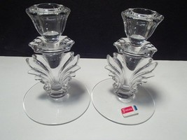 PAIR FOSTORIA BAROQUE FLAME SINGLE CANDLES~~nice ones - $14.95