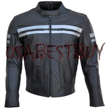 Custom Handmade Motorcycle Leather Jacket in Simple Unique Syle with Safety Pads - $149.00