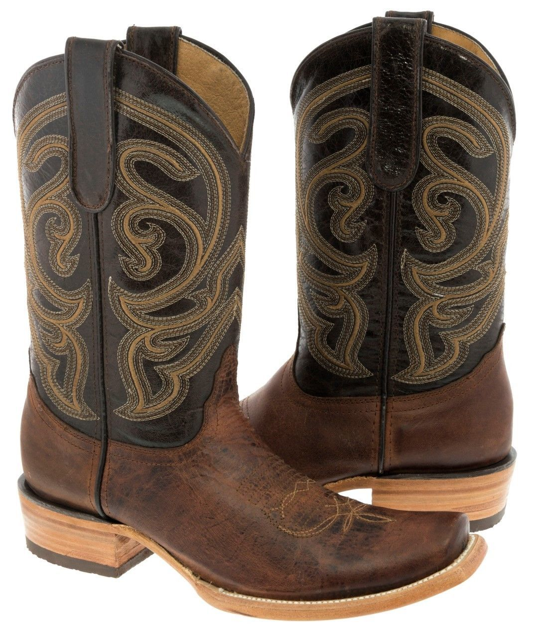 Womens Distressed Dark Brown Leather Cowboy Boots Floral Western Rodeo Dubai Toe