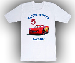 Cars Lightning McQueen Personalized White Birthday Shirt - $14.99+