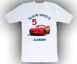 Cars Lightning McQueen Personalized White Birthday Shirt - $14.99+