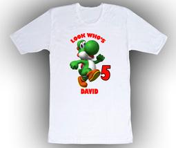 Super Mario Yoshi Personalized White Birthday Shirt - $14.99+