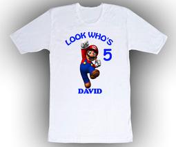 Super Mario Personalized White Birthday Shirt - $14.99+