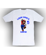 Super Mario Personalized White Birthday Shirt - $14.99+