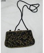 Lancome Black Satin Beaded Shoulder or Clutch Bag - $12.99