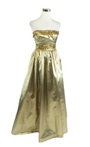 Gold strapless sequin lame Gunne Sax by Jessica McClintock vintage dress XS - $149.99