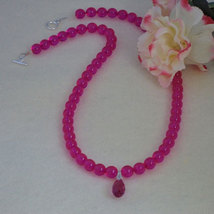 Fuchsia Glass Beaded Necklace With Pendant  FREE SHIPPING - $28.00