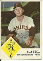 1963 Fleer Billy O'Dell 66 Giants VG - $5.00