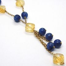 SILVER 925 NECKLACE, YELLOW, QUARTZ CITRINE, KYANITE, PENDANT BUNCH image 2