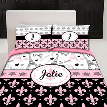 I Love Paris Fleurs Designer Twin -Queen or King Duvet Cover and shams- Personal - $139.00
