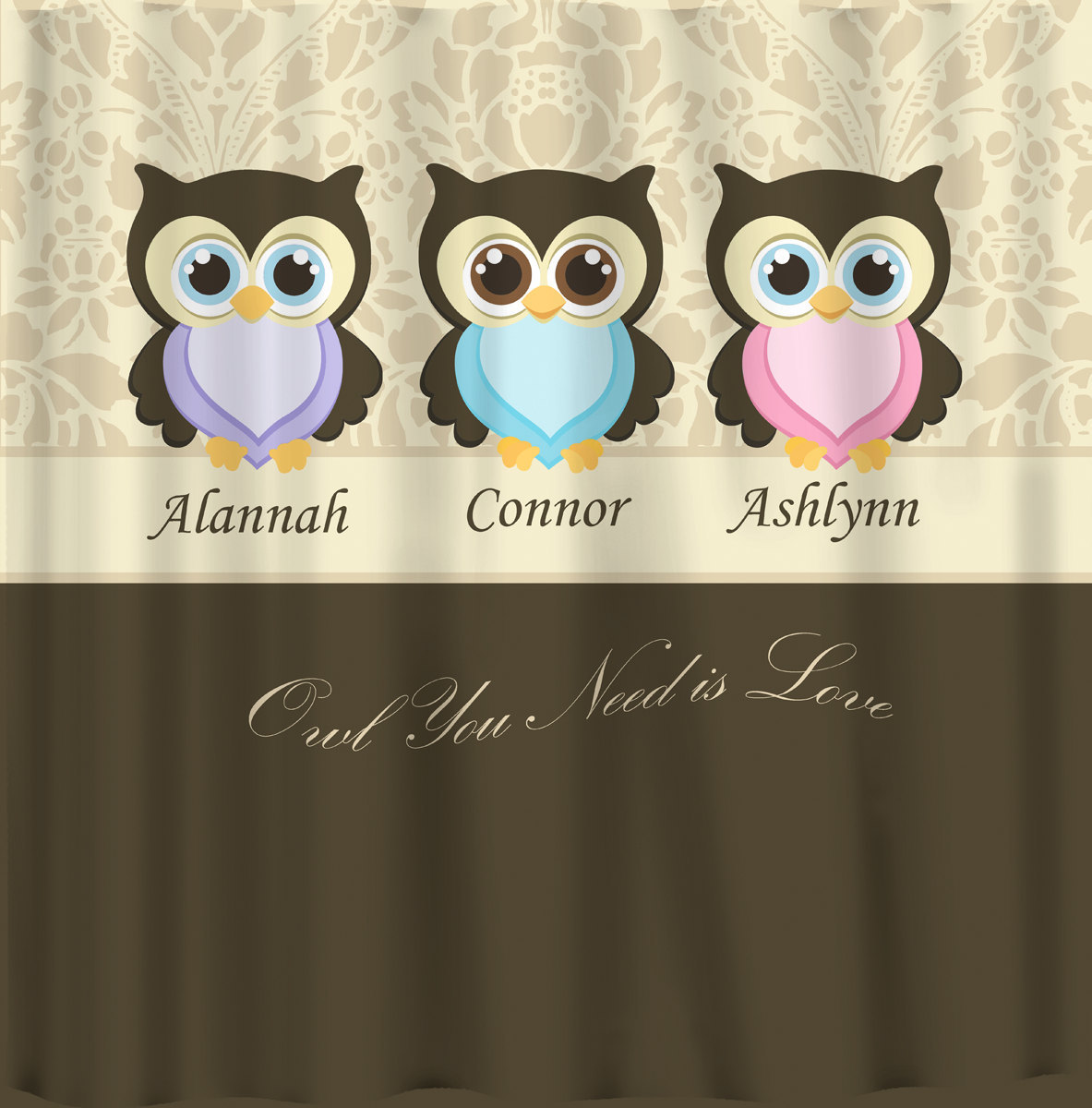Personalized CUSTOM OWLS Shared Shower Curtain - Various backgrounds and Number