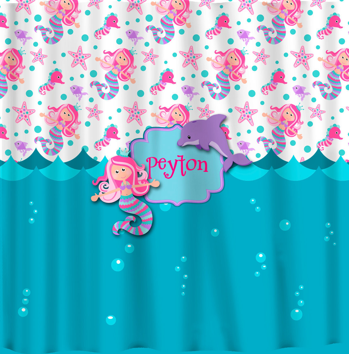 Personalized Custom Mermaid Shower Curtain -Turquoise, Pink, Purple -your name a