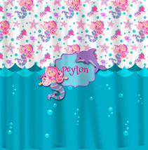 Personalized Custom Mermaid Shower Curtain -Turquoise, Pink, Purple -your name a - $78.00