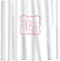 Custom Shower Curtain -Simplicity in White or Bottom Band Solid with monogram in image 3