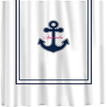 Custom Shower Curtain -Simplicity in White or Bottom Band Solid with monogram in image 2