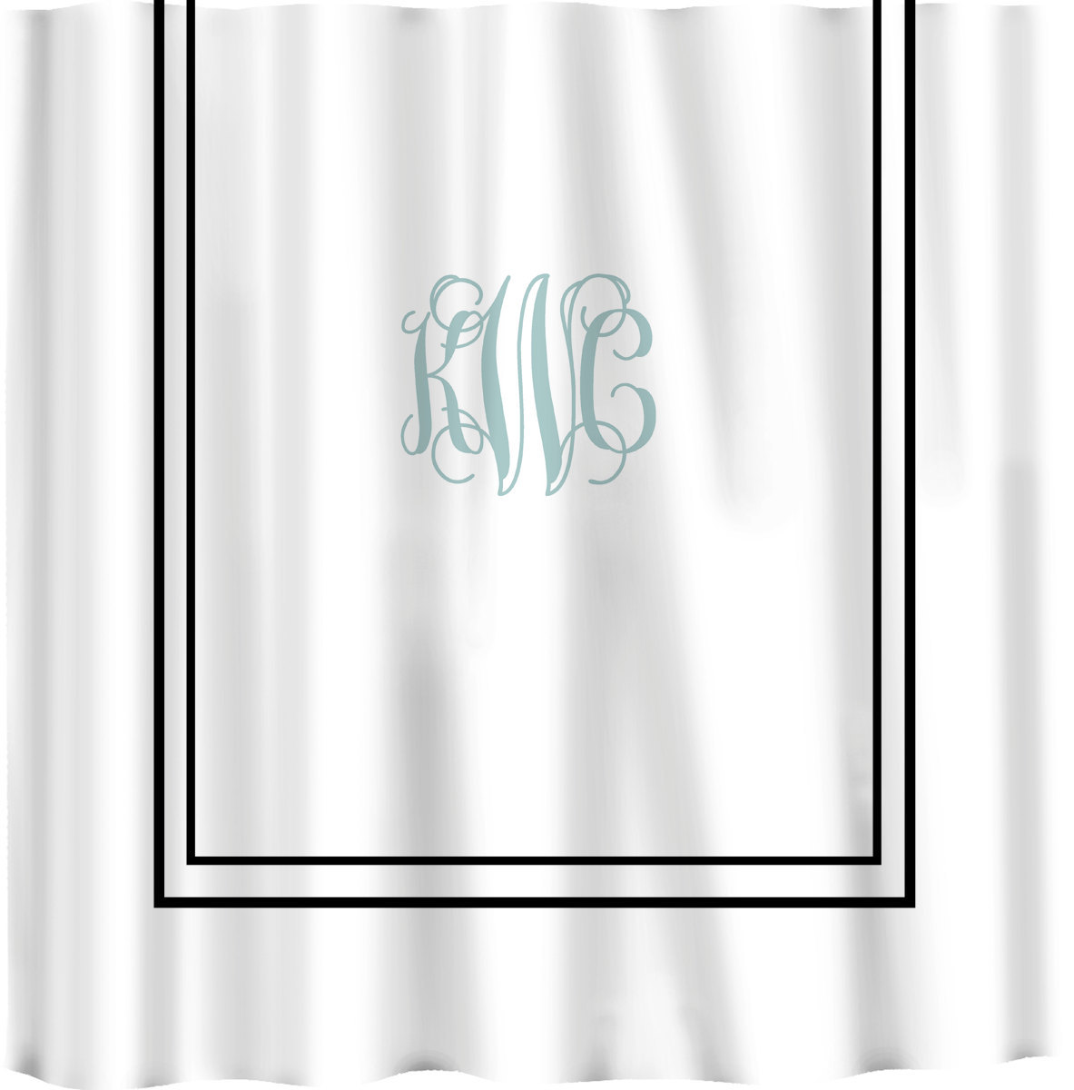 Custom Shower Curtain -Simplicity in White or Bottom Band Solid with monogram in