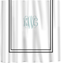 Custom Shower Curtain -Simplicity in White or Bottom Band Solid with monogram in - $78.00