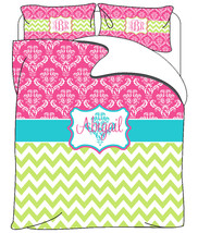 Custom Personalized Damask & Chevron Bedding  -Available Duvet Cover or ... - $179.00