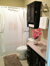 Custom Shower Curtain -Simplicity in White or Bottom Band Solid with monogram in image 5