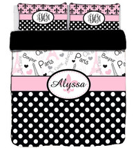 I Love Paris Fleurs and Polka Dots Designer Duvet Cover and shams- Perso... - $139.00