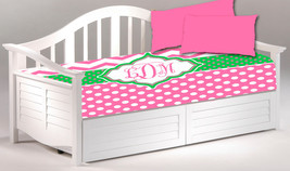 Daybed TWIN Custom Duvet Cover and 2 shams - Shown in Hot Pink with Lime Green A - $189.00