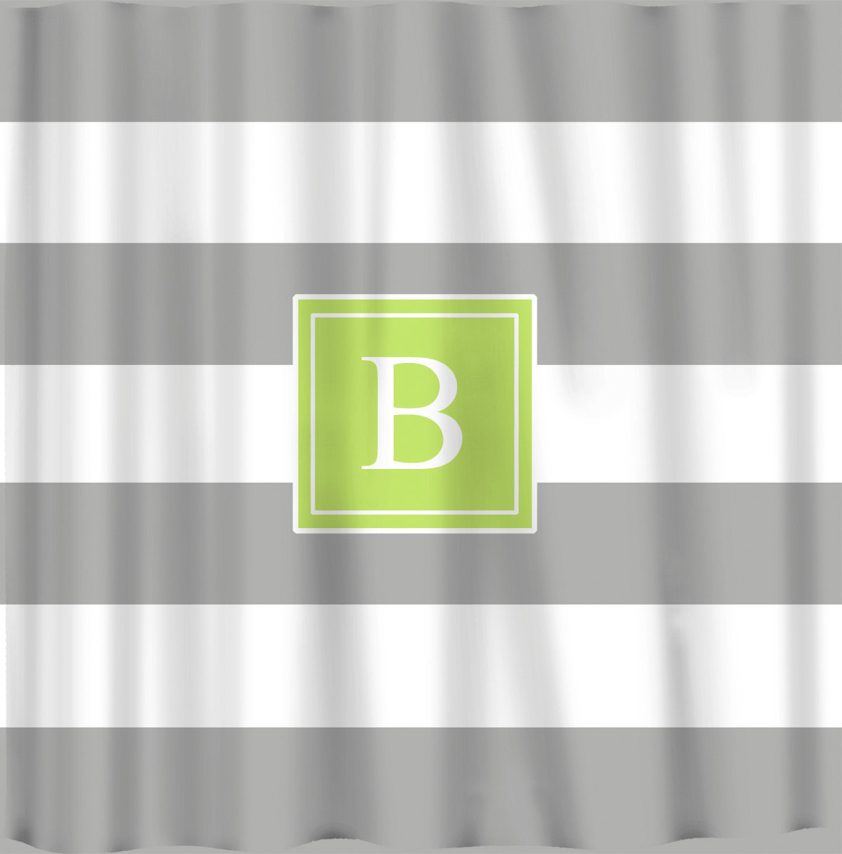 Personalized 10 inch Stripe Shower Curtains -Shown Grey with Citrus Accent Frame