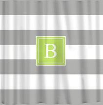 Personalized 10 inch Stripe Shower Curtains -Shown Grey with Citrus Acce... - $78.00