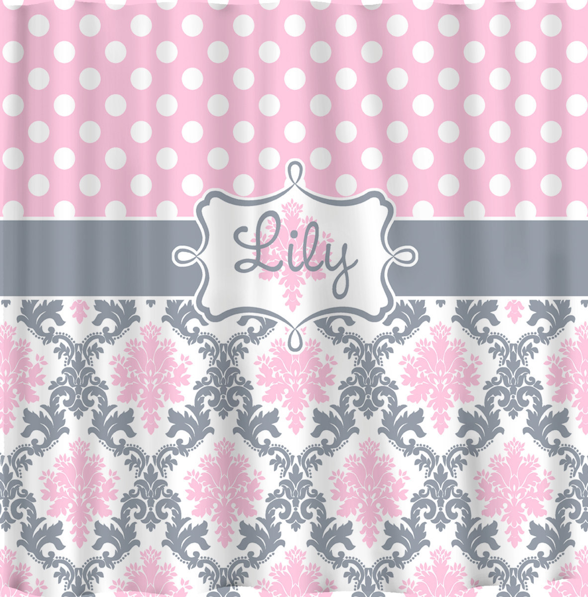 Custom Personalized Damask & Dots Shower Curtain - Shown in Pink, Grey and white