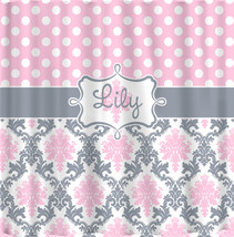 Custom Personalized Damask & Dots Shower Curtain - Shown in Pink, Grey and white - $78.00