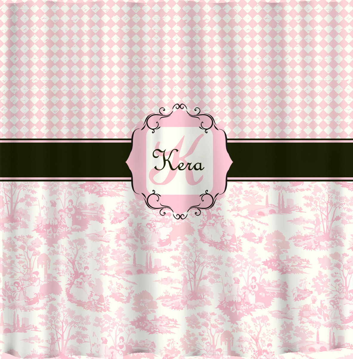 Personalized Shower Curtain -Custom with your Name or Initials -Diamonds and Pin