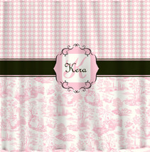 Personalized Shower Curtain -Custom with your Name or Initials -Diamonds and Pin - $78.00