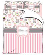 Owls and Stripe Custom Personalized Bedding- Full Queen Size - $264.00