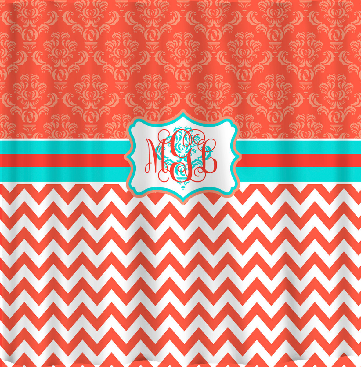 Personalized Shower Curtain -Damask and Chevron Coral and Turquoise - Available
