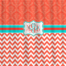 Personalized Shower Curtain -Damask and Chevron Coral and Turquoise - Available  image 1