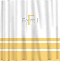 Custom Shower Curtain -Simple Stripe Bottom with monogram in your colors - can d image 3